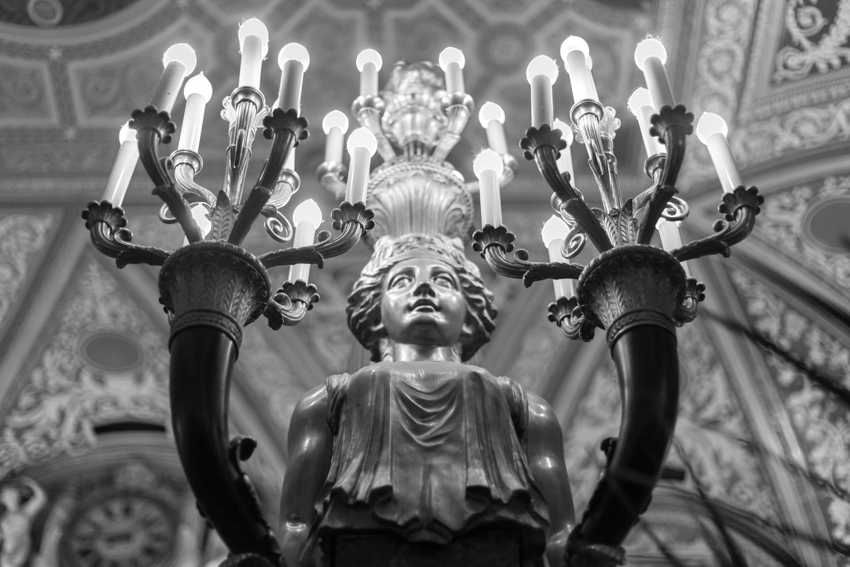Angel statue lamp in the lobby of the Palmer House Hotel Chicago