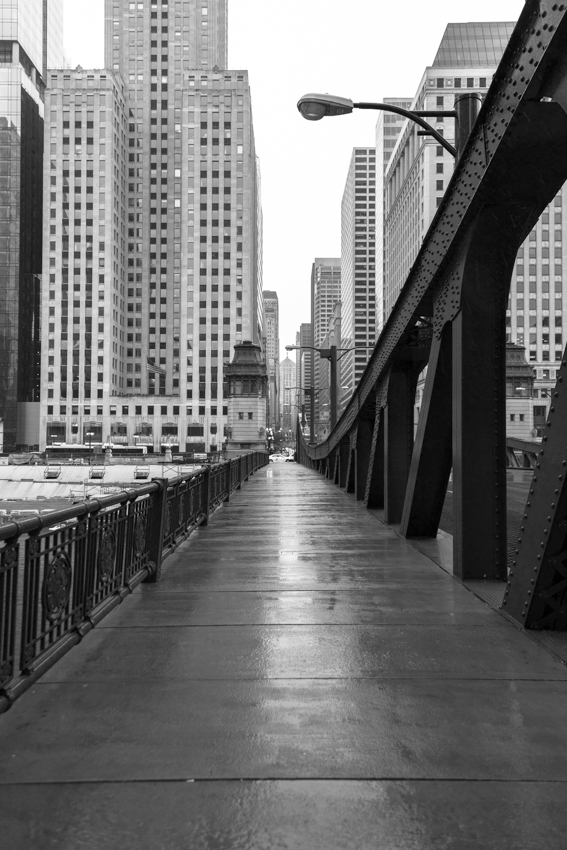 Chicago bridge in the rain