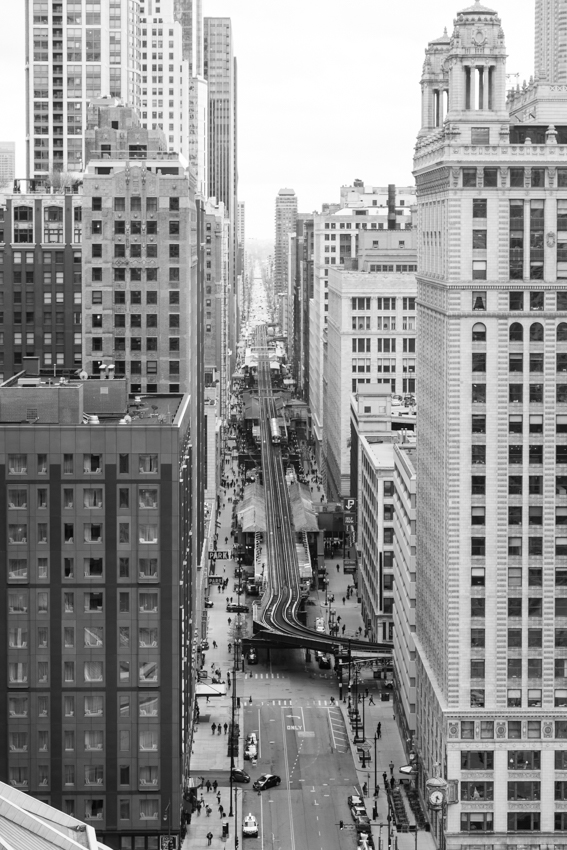 Rooftop view of the Chicago L train in The Loop