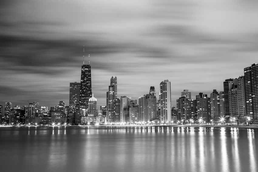 Chicago Skyline at night over Lake Michigan