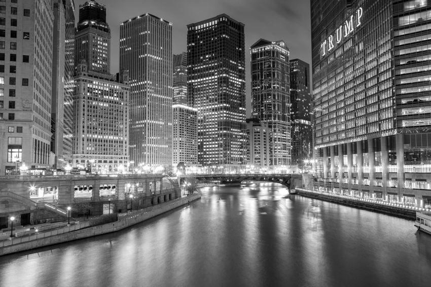 Chicago River at night, facing east from the Michigan Ave bridge
