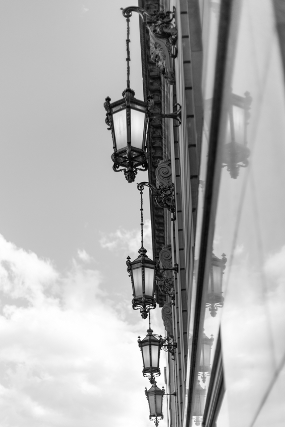Ornate hanging street lamps in Chicago