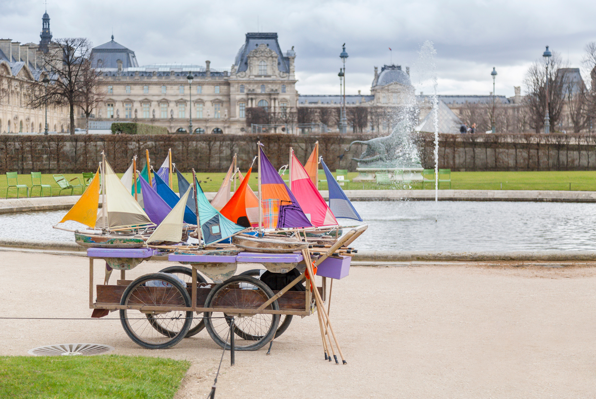 Colorful boats at Tuileries Garden Paris